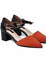 Недорогие -Жен. Обувь Замша Весна Туфли лодочки Обувь на каблуках На толстом каблуке Черный / Оранжевый / Серый