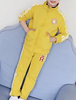 Недорогие -Дети Девочки Классический Спорт Однотонный / Контрастных цветов Длинный рукав Хлопок Набор одежды