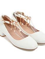 Недорогие -Жен. Обувь Полиуретан Весна Туфли лодочки Обувь на каблуках На толстом каблуке Белый / Черный / Розовый