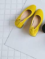Недорогие -Жен. Комфортная обувь Замша Весна / Лето Обувь на каблуках На толстом каблуке Закрытый мыс Черный / Желтый