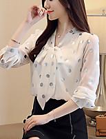 Недорогие -Жен. Офис Блуза V-образный вырез Горошек