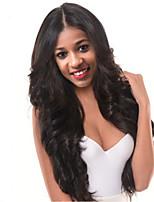 Недорогие -Синтетические кружевные передние парики Волнистый Средняя часть Искусственные волосы 24 дюймовый Женский / Прямой пробор / Для темнокожих женщин Темно-коричневый Парик Жен. Длинные Лента спереди