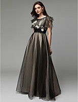 cheap -A-Line Boat Neck Floor Length Tulle Formal Evening Dress with Appliques / Embroidery by TS Couture®