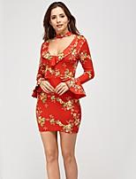 preiswerte -Damen Street Schick / Elegant Aufflackern-Hülsen- Bodycon Kleid - Druck, Blumen Mini