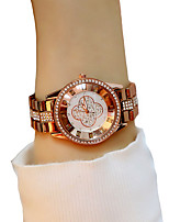 Недорогие -Жен. Наручные часы Кварцевый Секундомер Светящийся Повседневные часы сплав Группа Аналоговый Мода Элегантный стиль Шоколадный - Кофейный / Имитация Алмазный