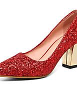Недорогие -Жен. Комфортная обувь Сатин Осень Обувь на каблуках На толстом каблуке Черный / Серебряный / Красный / Для вечеринки / ужина