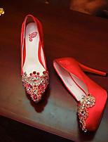 baratos -Mulheres Sapatos Cetim Verão Conforto Sapatos De Casamento Salto Agulha Vermelho