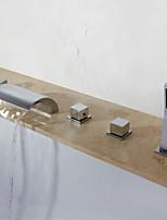 Недорогие -Смеситель для ванны - Современный Хром Разбросанная Медный клапан