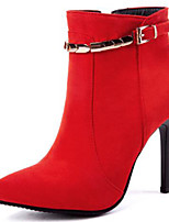 Недорогие -Жен. Замша Весна & осень Ботильоны Ботинки На шпильке Заостренный носок Ботинки Пряжки Черный / Красный / Свадьба