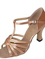 baratos -Mulheres Sapatos de Dança Latina Cetim Sandália / Salto Salto Carretel Personalizável Sapatos de Dança Preto / Prata / Caqui