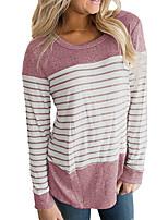 Недорогие -женская футболка - цветной блок / полосатая шея