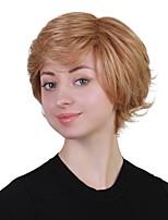 Недорогие -Человеческие волосы без парики Натуральные волосы Волнистый Стрижка под мальчика Природные волосы Блондинка Без шапочки-основы Парик Жен. Повседневные