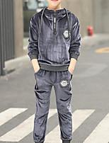 Недорогие -Дети Мальчики Классический Однотонный Шнуровка / Пэчворк Длинный рукав Хлопок Набор одежды