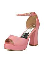 Недорогие -Жен. Обувь Полиуретан Лето Удобная обувь Обувь на каблуках На толстом каблуке Черный / Красный / Зеленый