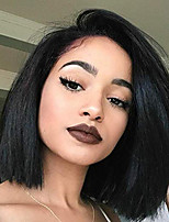 cheap -Human Hair Lace Front Wig Brazilian Hair / Burmese Hair Straight Wig Bob Haircut 130% Women / Easy dressing / Best Quality Natural Women's Short Human Hair Lace Wig