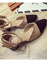 Недорогие -Жен. Обувь Полиуретан Весна & осень Удобная обувь / Туфли лодочки Обувь на каблуках На толстом каблуке Черный / Хаки