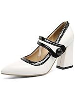 abordables -Femme Chaussures Cuir Verni Printemps été Confort Chaussures à Talons Talon Bottier Blanc / Noir / Vert clair