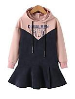 cheap -Kids Girls' Cute Patchwork Long Sleeve Dress
