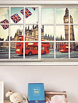 Недорогие -Оконная пленка и наклейки Украшение Панорама города Города ПВХ Стикер на окна