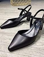 Недорогие -Жен. Овчина Лето Туфли лодочки Обувь на каблуках На толстом каблуке Белый / Черный