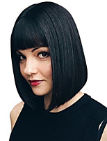 cheap -Remy Human Hair Lace Front Wig Eurasian Hair / Burmese Hair Straight Wig Bob Haircut / Short Bob 150% Classic / Women / Natural Hairline Natural / Black Women's 8-14 Human Hair Lace Wig