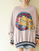 preiswerte -langärmliges Baumwoll-Sweatshirt für Frauen - einfarbiger Rundhalsausschnitt