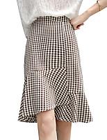 Недорогие -женские юбки midi bodycon - чек / плед