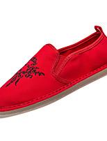 abordables -Hombre Algodón / Lino Otoño Confort Zapatos de taco bajo y Slip-On Bloques Blanco / Negro / Rojo