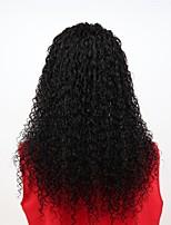 Недорогие -Remy Лента спереди Wig Бразильские волосы Афро Квинки Парик Ассиметричная стрижка 130% Женский / Легко туалетный / Sexy Lady Черный Жен. Очень длинный Парики из натуральных волос на кружевной основе