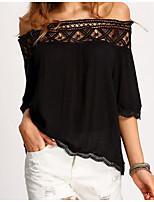Недорогие -Жен. Блуза Без бретелей Однотонный / Геометрический принт