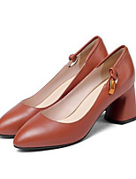 baratos -Mulheres Sapatos Confortáveis Pele Napa Primavera Saltos Salto Robusto Preto / Marron