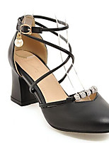 Недорогие -Жен. Комфортная обувь Полиуретан Весна Обувь на каблуках На толстом каблуке Белый / Черный / Розовый