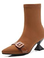 Недорогие -Жен. Fashion Boots Замша Осень Ботинки Гетеротипическая пятка Сапоги до середины икры Черный / Коричневый