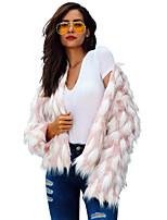 Недорогие -Жен. Пальто с мехом Изысканный - Горошек