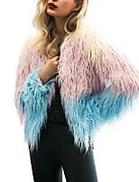 Недорогие -Жен. Пальто с мехом Активный / Изысканный - Контрастных цветов