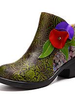Недорогие -Жен. Ботильоны Наппа Leather Весна & осень Винтаж Ботинки На толстом каблуке Ботинки Цветы из сатина Зеленый