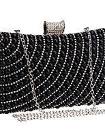 cheap -Women's Crystals / Pearls Polyester / Alloy Evening Bag Striped Black / Gold / Silver