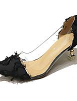 Недорогие -Жен. Балетки D'Orsay Полиуретан Осень Обувь на каблуках На низком каблуке Заостренный носок Белый / Черный / Повседневные