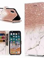 abordables -Coque Pour Apple iPhone XR / iPhone XS Max Portefeuille / Porte Carte / Avec Support Coque Intégrale Marbre Dur faux cuir pour iPhone XS / iPhone XR / iPhone XS Max