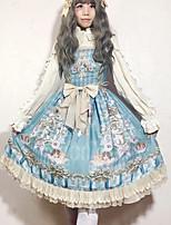 baratos -Doce Vintage Elegante Chifon Renda Feminino Vestidos Cosplay Roxo / Azul / Tinta Azul Sem Mangas Sem Manga Midi Trajes da Noite das Bruxas