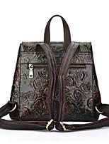 billiga -Dam Väskor Läder ryggsäck Läderplastik Grön / Silver