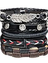 abordables -Homme Le style rétro / Tressé Bracelets en cuir / Loom Bracelet - Cuir Forme de Feuille, Etoile Large, Mode Bracelet Noir Pour Plein Air / Bar