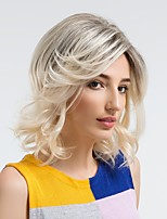 Недорогие -Человеческие волосы без парики Натуральные волосы Волнистый Боковая часть Природные волосы Темно-серый Без шапочки-основы Парик Жен. На каждый день