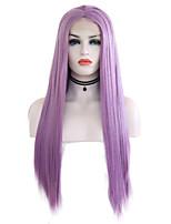 Недорогие -Синтетические кружевные передние парики Шелковисто-прямые Стиль Средняя часть Лента спереди Парик Фиолетовый Бледно-лиловый Искусственные волосы 24 дюймовый Жен. Регулируется / Жаропрочная Фиолетовый