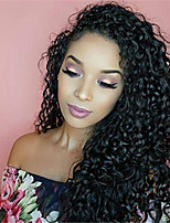 cheap -Remy Human Hair Lace Front Wig Brazilian Hair Afro Curly Wig Asymmetrical Haircut 130% Women / Easy dressing / Sexy Lady Black Women's Very Long Human Hair Lace Wig