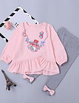 Недорогие -Дети (1-4 лет) Девочки Мультипликация Длинный рукав Набор одежды