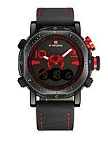 Недорогие -NAVIFORCE Муж. Спортивные часы Наручные часы Японский Японский кварц 30 m Защита от влаги Календарь С двумя часовыми поясами Натуральная кожа Группа Аналого-цифровые На каждый день Мода Черный / Серый