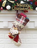 baratos -Meias Finas / Ornamentos Natal Tecido Desenho Animado Decoração de Natal