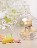 baratos -5 pcs 6 cm natal tress decorações bola transparente aberto plástico claro bauble ornamento presente caixa de presente decoração
