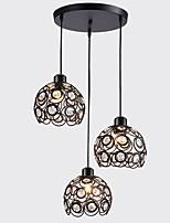 abordables -CXYlight 3 lumières Circulaire Lampe suspendue Lumière dirigée vers le bas - Cristal, 110-120V / 220-240V Ampoule non incluse